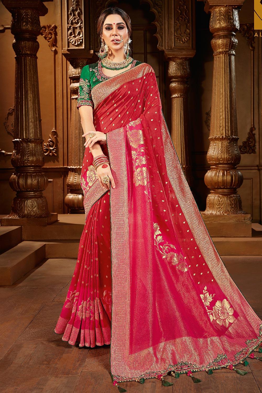 Red Zari Weaved Banarasi Silk  Saree With Dark Green Blouse