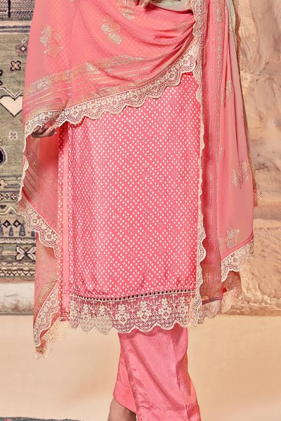 Ready to wear Coral Pink Crepe  Kurta Palazzo Set