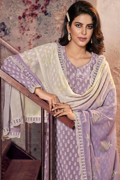 Ready To Wear Lilac Crepe Silk  Kurta Palazzo Set