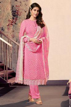 Ready To Wear Pink Crepe Silk  Kurta Palazzo Set