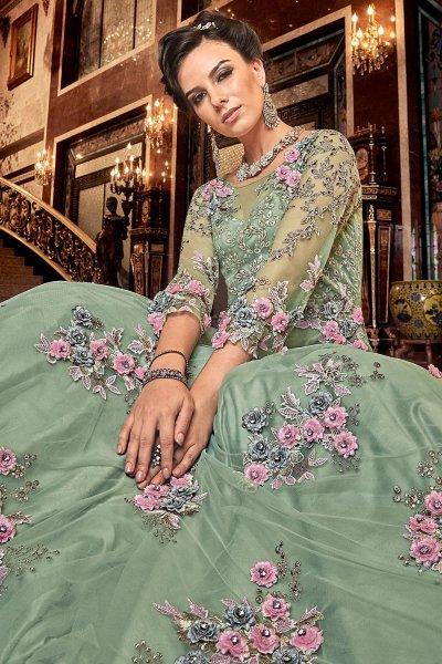 Soft Green Net Anarkali Suit with Satin Floral Work