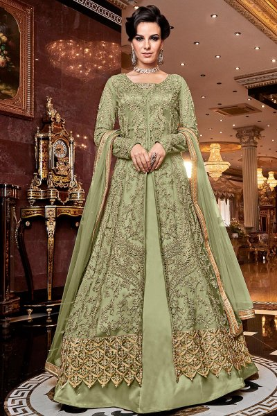 Sage Green Embroidered Front Slit Anarkali Suit with Pant/Lehenga