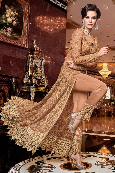 Dusky Peach Embroidered Front Slit Anarkali Suit with Pant/Lehenga