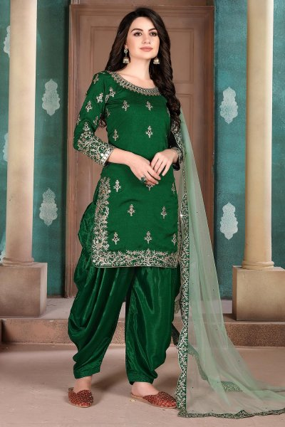 Green Silk Crafted Patiala Style Salwar Suit
