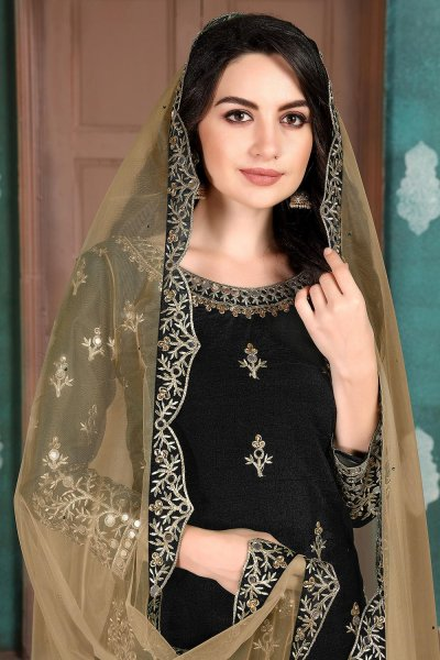 Black Silk Crafted Patiala Style Salwar Suit