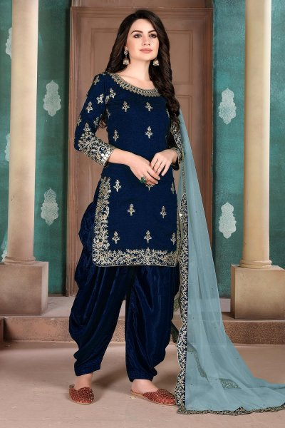 Navy Blue Silk Crafted Patiala Style Salwar Suit