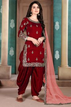 Maroon Silk Crafted Patiala Style Salwar Suit