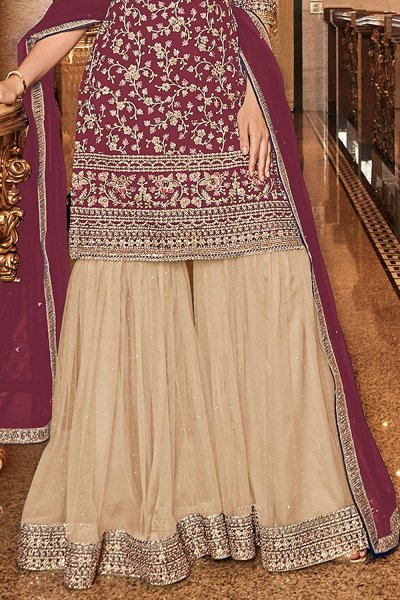 Gorgeous Wine Embroidered Sharara Set in Net