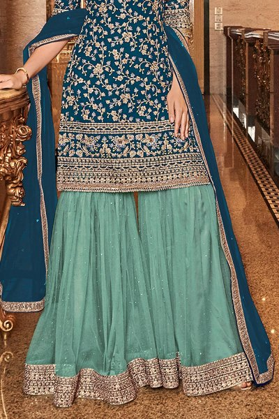 Gorgeous Blue Embroidered Sharara Set in Net