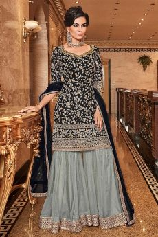 Gorgeous Black Embroidered Sharara Set in Net