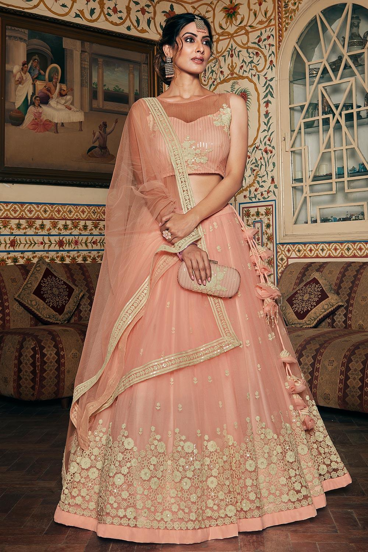Designer Peach Net Lehenga With Elegant Embroidery