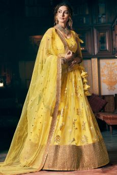 Designer Yellow Net Lehenga With Elegant Embroidery