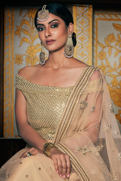 Designer Cream Net Lehenga With Elegant Embroidery