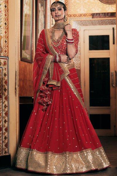 Designer Red Georgette Lehenga With Elegant Embroidery