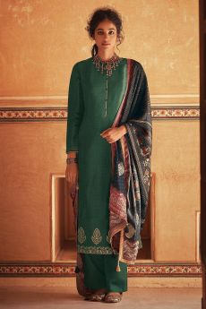 Ready To Wear Bottle Green Self Woven And Embroidered Silk Kurta Set