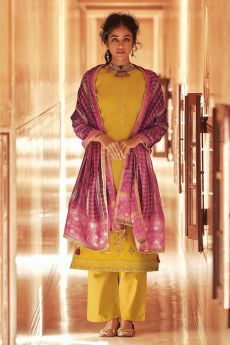 Ready To Wear Yellow Self Woven And Embroidered Silk Kurta Set.