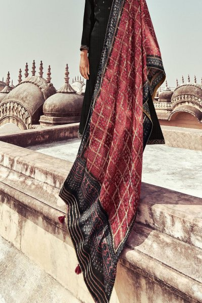 Ready To Wear Black Self Woven And Embroidered Silk Kurta Set.