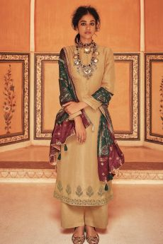 Ready To Wear Fawn Self Woven And Embroidered Silk Kurta Set.