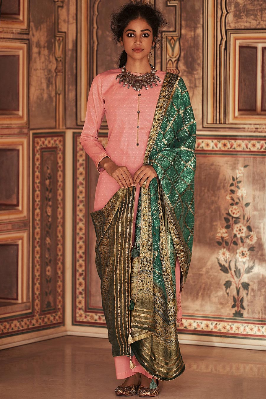 Ready To Wear Light Pink Self Woven And Embroidered Silk Kurta Set