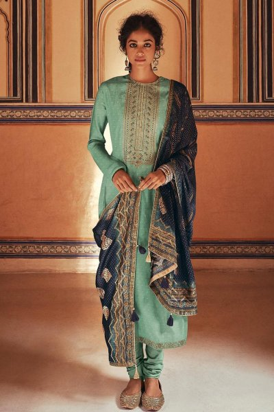 Ready To Wear Mint Green Self Woven And Embroidered Silk Kurta Set.