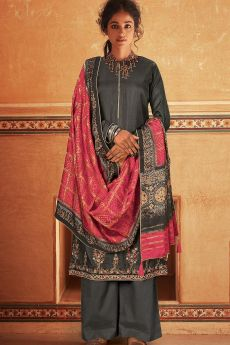 Ready To Wear Grey Self Woven And Embroidered Silk Kurta Set.