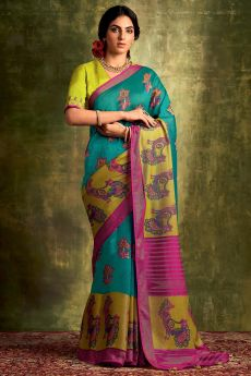 Teal Blue Party Wear Silk Saree with Embroidery