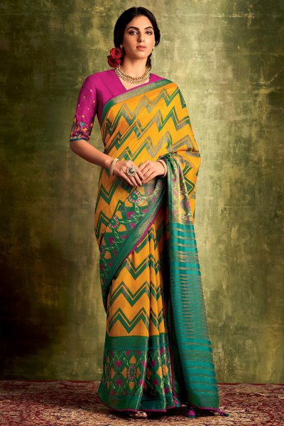 Mustard Yellow Party Wear Silk Saree with Embroidery
