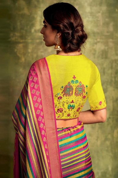 Magenta Party Wear Silk Saree with Embroidery