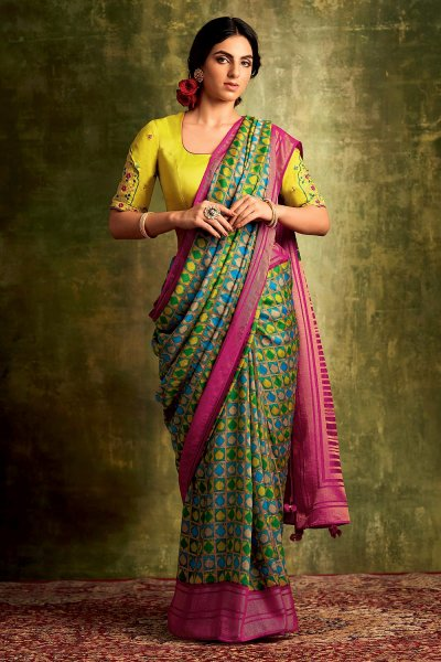 Multi Colou Party Wear Silk Saree with Embroidery