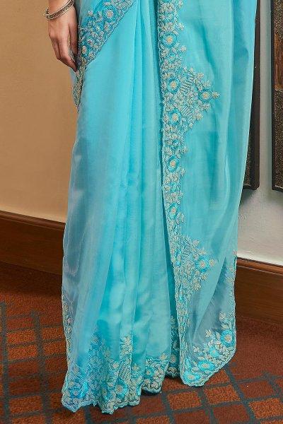 Blue Soft Organza Silk Embroidered Saree