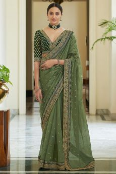 Olive Green Soft Organza Silk Embroidered Saree