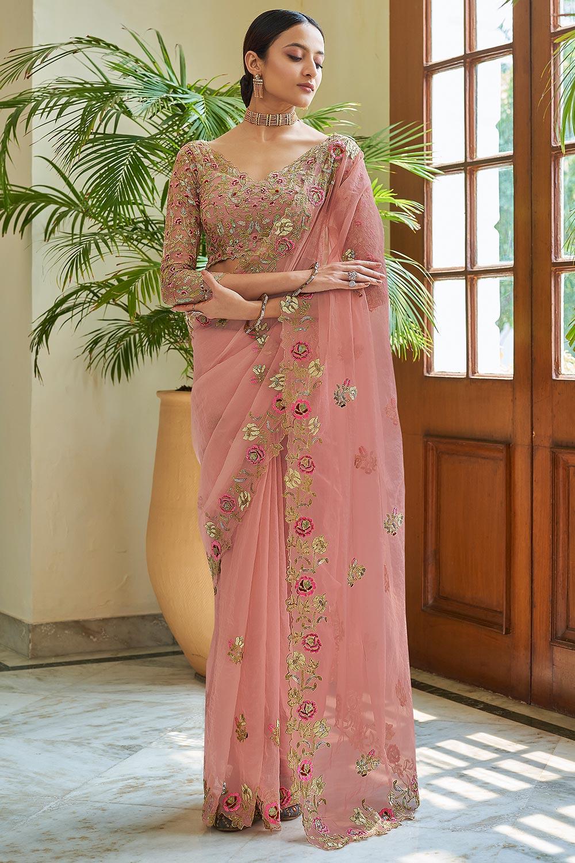 Blush Pink Soft Organza Silk Embroidered Saree
