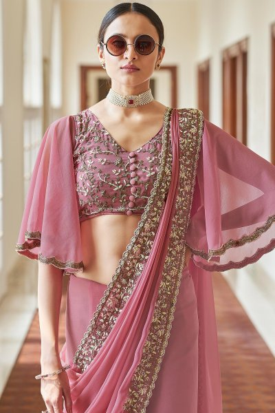 Dusky Pink Georgette Embroidered Saree