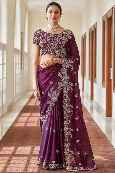 Plum Crepe Silk Embroidered Saree