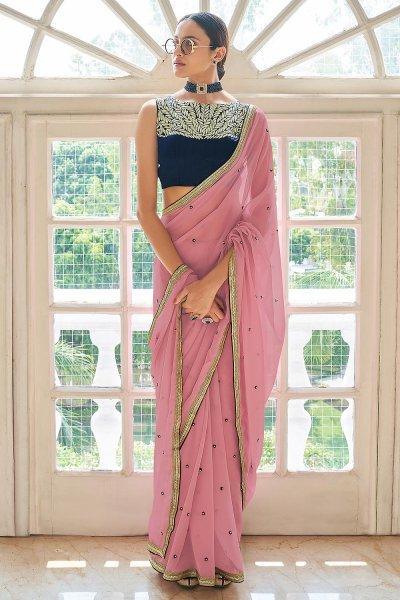 Blush Pink Georgette Embroidered Saree