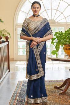 Navy Blue Soft Organza Silk Embroidered Saree