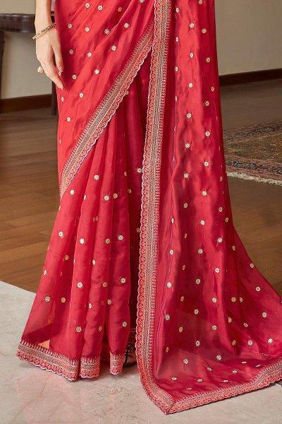 Red Soft Organza Silk Embroidered Saree