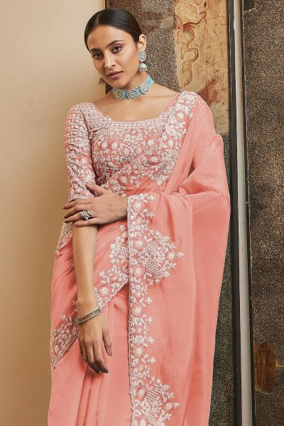 Peach Soft Organza Silk Embroidered Saree