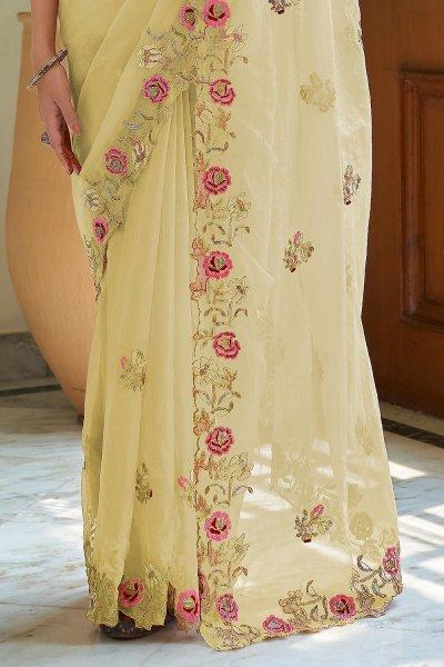 Soft Yellow Soft Organza Silk Embroidered Saree
