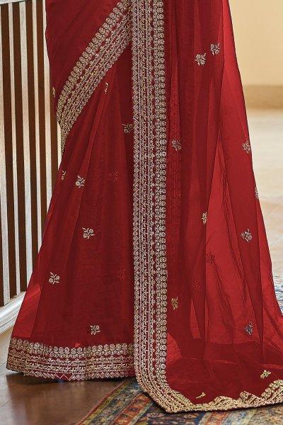Dark Red Soft Organza Silk Embroidered Saree