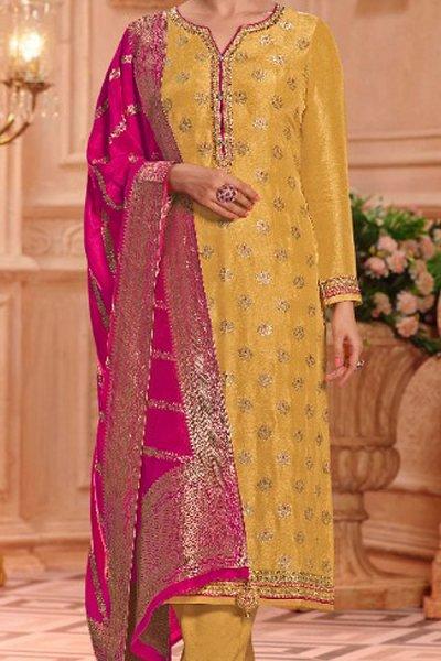 Yellow Jacquard Kurta Palazzo Set In Silk