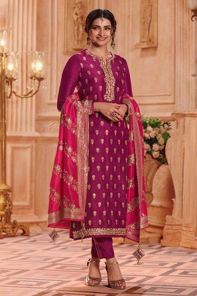 Purple Jacquard Kurta Palazzo Set In Silk