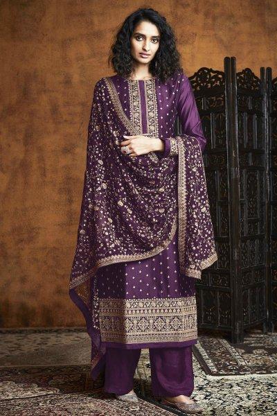 Plum Zari Embroidered Salwar Suit in Georgette
