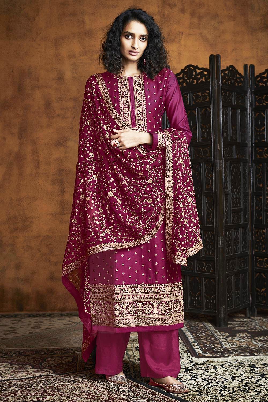 Maroon Zari Embroidered Salwar Suit in Georgette