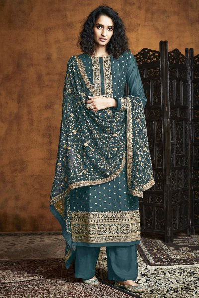Dark Teal Blue Zari Embroidered Salwar Suit in Georgette