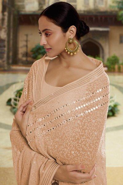 Soft Beige Georgette thread Embroidered Saree