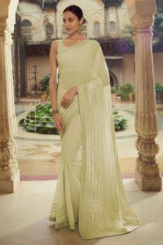 Soft Pista Green Georgette thread Embroidered Saree
