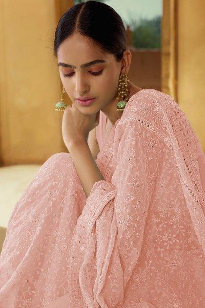 Peach Georgette thread Embroidered Saree