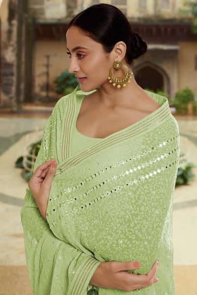 Seafoam Green Georgette thread Embroidered Saree