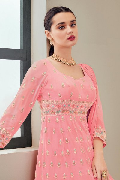 Pink Georgette Anarkali Suit With Dupatta